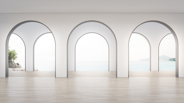 Интерьер дома 3d-рендеринга с видом на море.