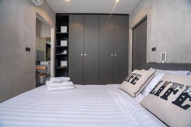 Home interior design in bedroom of the loft house