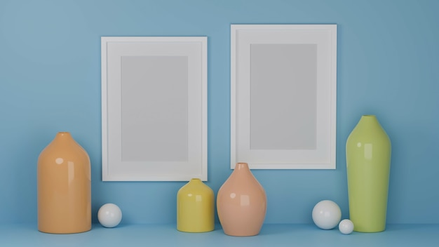 Home interior design with mock up frames on light blue wall and pastel vases home decor