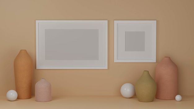 Home interior design with mock up frames on pastel orange wall and pastel vases home decor