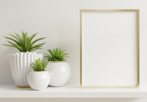 Home interior frame with vertical metal frame with ornamental plants in pots on empty wall
