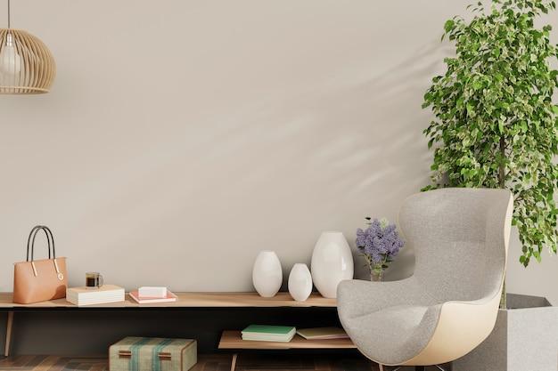 Интерьер дома, гостиная с натуральной мебелью, 3d рендеринг в скандинавском стиле