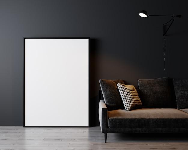 Интерьер дома, роскошный современный темный интерьер гостиной, черный пустой стены макет, 3d-рендеринг