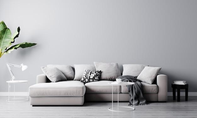 ホームインテリア、豪華なモダンなリビングルームのインテリア、明るい灰色の空の壁はソファーとコーヒーテーブル、3 dレンダリングで模擬