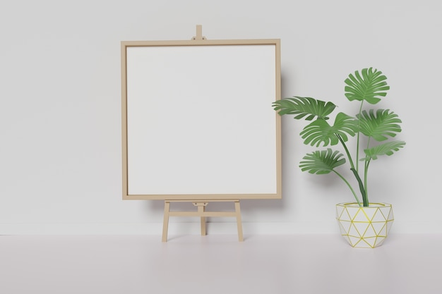 Home interior photo frame mock up on white wall