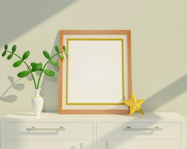 ホームインテリアポスターは、ポットとゴールドスターの観賞植物と垂直木製フレームでテーブルにモックアップします。 3dレンダリング