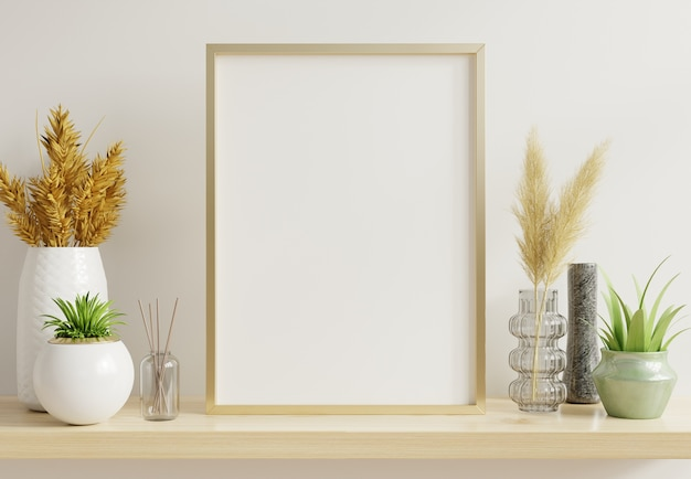 Home interior poster mock up with vertical gold frame with ornamental plants in pots on empty wall.