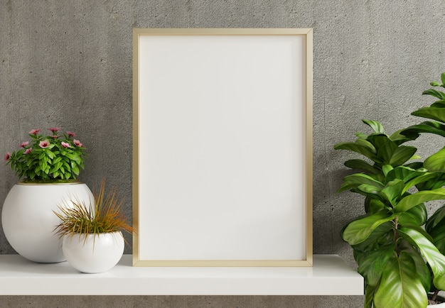 홈 인테리어 포스터 빈 콘크리트 벽 배경에 냄비에 관상용 식물과 수직 금속 프레임으로 조롱. 3d 렌더링