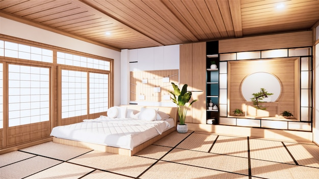 Home interior wall mock up with wooden bed in bedroom minimal design. 3d rendering.