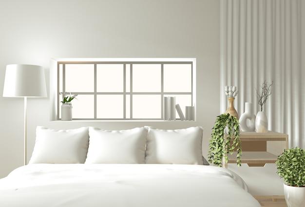 선 침실에 나무 침대, 커튼 및 장식 일본식 스타일로 모의 홈 인테리어 벽