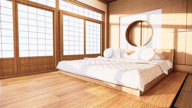 Домашний интерьер стены макет с деревянной кроватью в спальне минимальный дизайн. 3d-рендеринг.