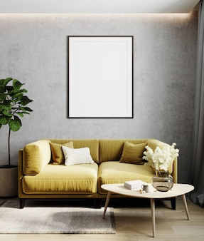 Home interior with poster frame mockup, yellow comfortable sofa on gray wall with wooden furniture and plant, 3d render