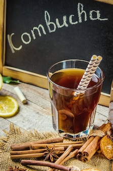 Home kombucha with lemon. selective focus. drink.