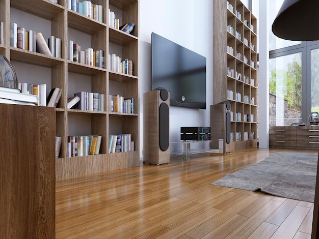 현대 거실의 홈 라이브러리.