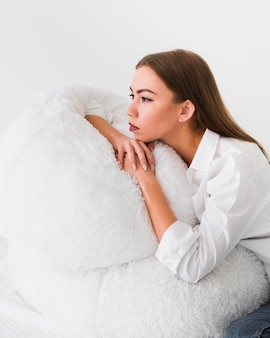 Home lifestyle concept woman sitting on bean bag