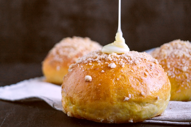 Home made buns with condensed milk.