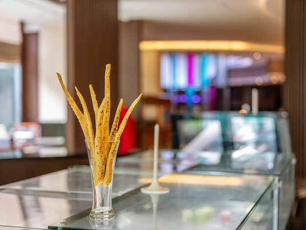 A home-made cheese stick decorated in the glass located in bandung, indonesia