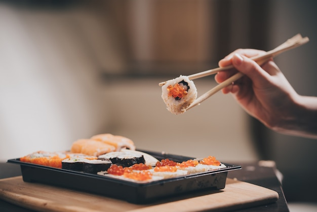 Home-made food delivery, sushi and rolls