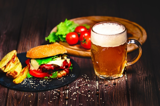 Home made mouth watering, delicious beef burger with lettuce and