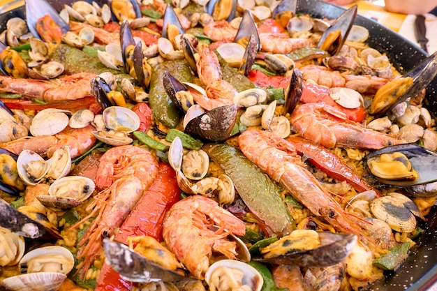 Home made paella extreme close up