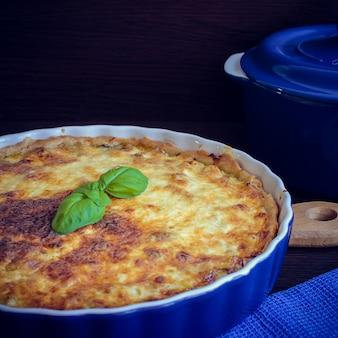 Home made tasty french quiche lorraine pie