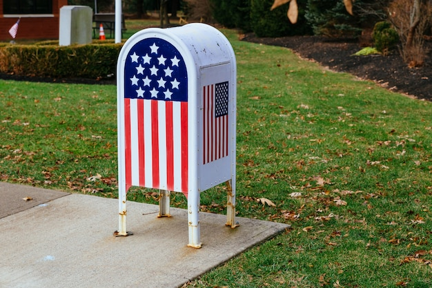 Home office american flagmetal mailbox in garden