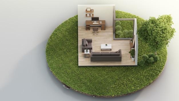 ホームオフィスと不動産販売や不動産投資の概念で緑の草と小さな地球の土地に大きな木の近くのリビングルーム。