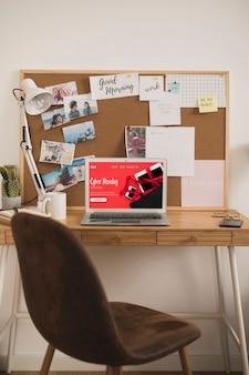 ホームオフィスデスクデザインのモックアップ