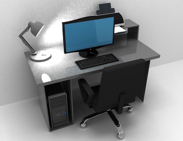 홈 오피스 데스크 오순절 램프, 컴퓨터 및 프린터. 3d 렌더링 된 그림