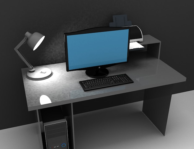 Home office desk whit lamp, computer and printer . 3d rendered illustration