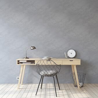 ホームオフィス。インテリアモックアップ。空の灰色の壁の近くの木製の机。 3dレンダリング。