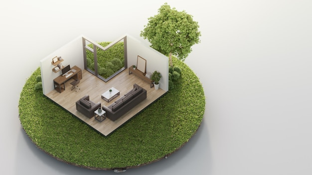Home office and living room near big tree on tiny earth land with green grass in real estate sale or property investment concept.