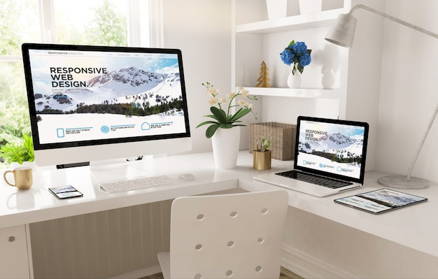 Home office set up with responsive snow mountain website 3d rendering