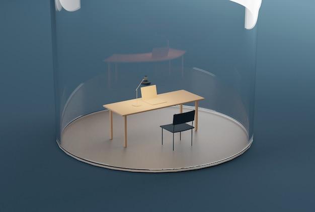 Домашний офис под стеклянным куполом. изоляция во время карантина, связанного с пандемией covid-19