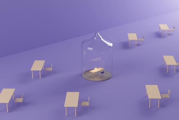 Домашний офис под стеклянным куполом.