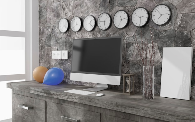 Home office with desktop computer, balloons and wall clocks