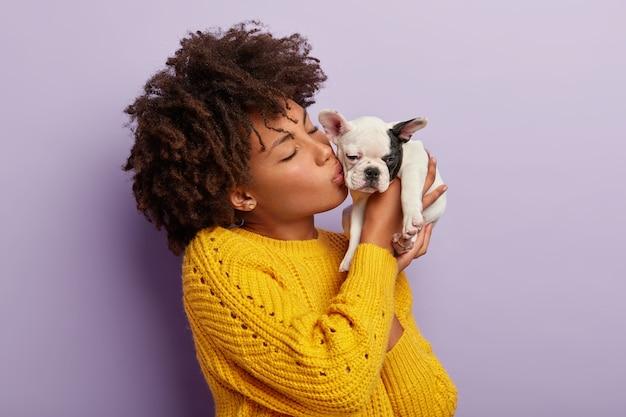 Concetto di animali domestici. la bella padrona femminile del cane di razza lo bacia con amore, si prende cura degli animali, ha un umore allegro