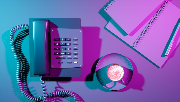 Home phone in ultraviolet lighting close-up, 3d illustration
