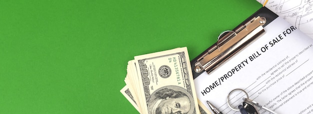 Home and property bill of sale agreement banner, green background photo