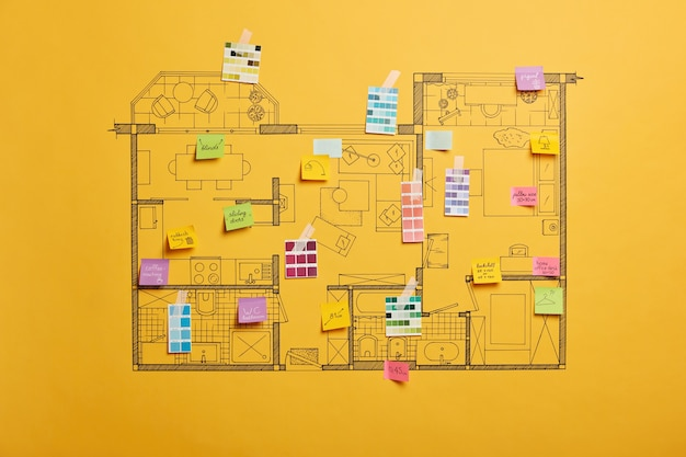 Ремонт дома и концепция дизайна со схемой разных комнат