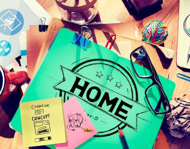Домашний жилой семейный жилой дом концепция