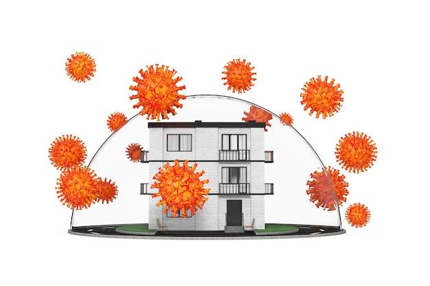 가정 안전 개념입니다. 도시 주변의 새로운 코로나바이러스 covid-19, 흰색 배경에 유리 벨 돔 아래 보호된 타운 화이트 브릭 하우스 건물. 3d 렌더링