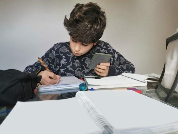 Home scene. times of covid 19. child applied and serious, doing homework and reading carefully