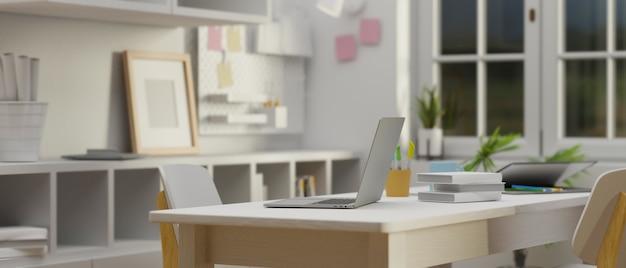 Дизайн интерьера комнаты домашнего кабинета в белой концепции с учебным столом, книжными полками и украшениями, 3d-рендеринг