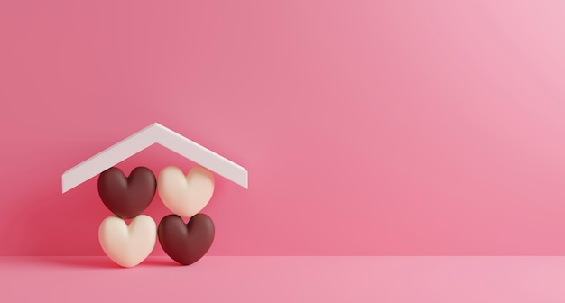 Home sweet home design of chocolate hearts in house on pink paper background with copy space 3d render
