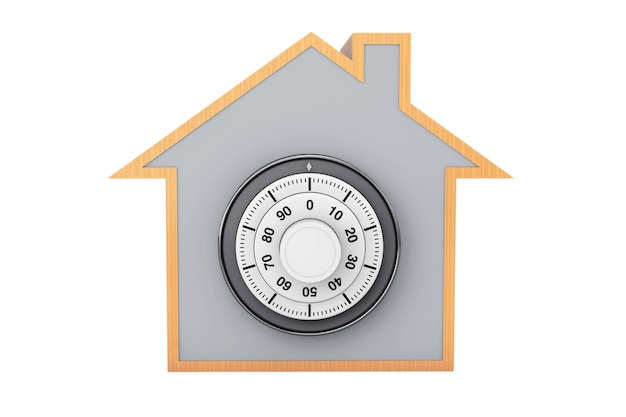 Home symbol with bank pad door on a white background