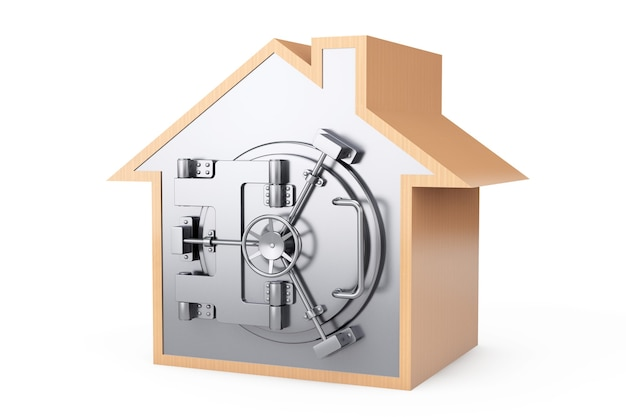 Home symbol with bank safe door on a white background