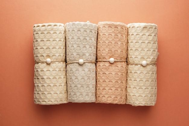 파스텔 색조의 천연 모슬린으로 만든 가정용 수건 자연 부드럽고 세련된 가정용 직물