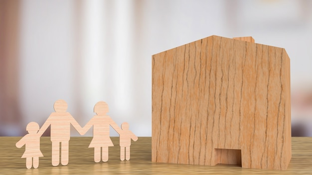 The home wood and family wood cut for property  or building concept 3d rendering