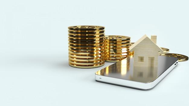 Домашняя древесина на переводе smartphone и золотой монетки 3d для содержания свойства.